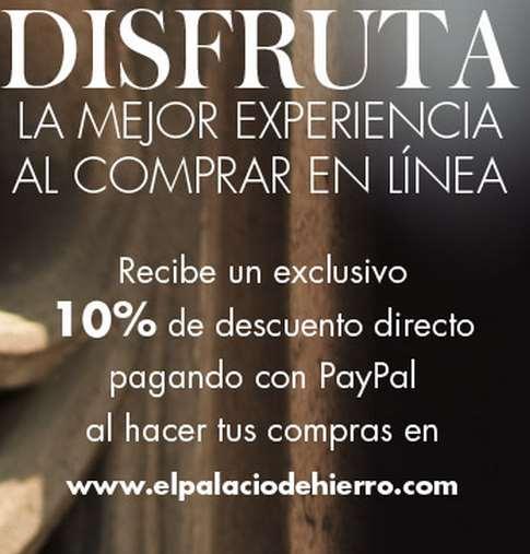 Palacio de Hierro: 10% de descuento en tienda online con PayPal