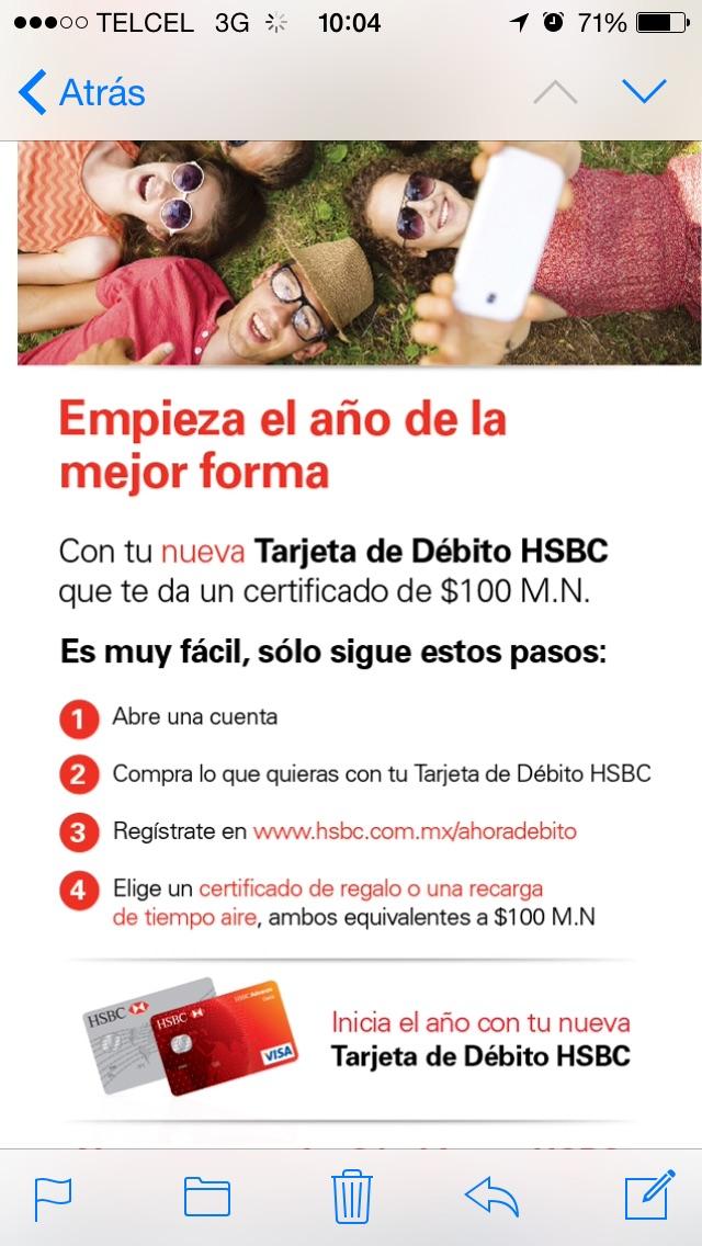 100 pesos al abrir cuenta en Hsbc