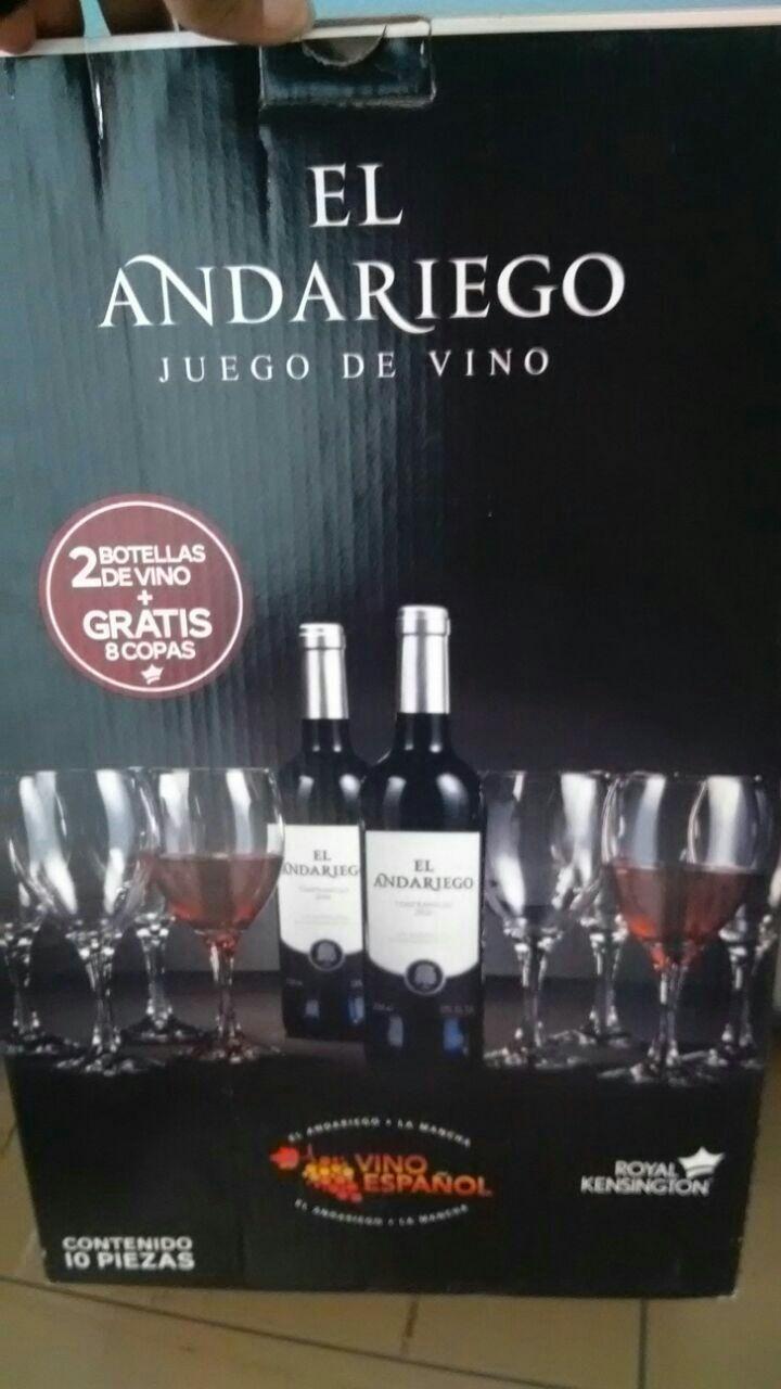 Comercial Mexicana: paquete de 2 vinos y 8 copas gratis El Andariego