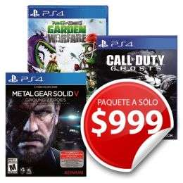 Sears: Ps4 Pack Call Of Duty Ghosts, Metal Gear Solid V y Plants Vs z $1,074