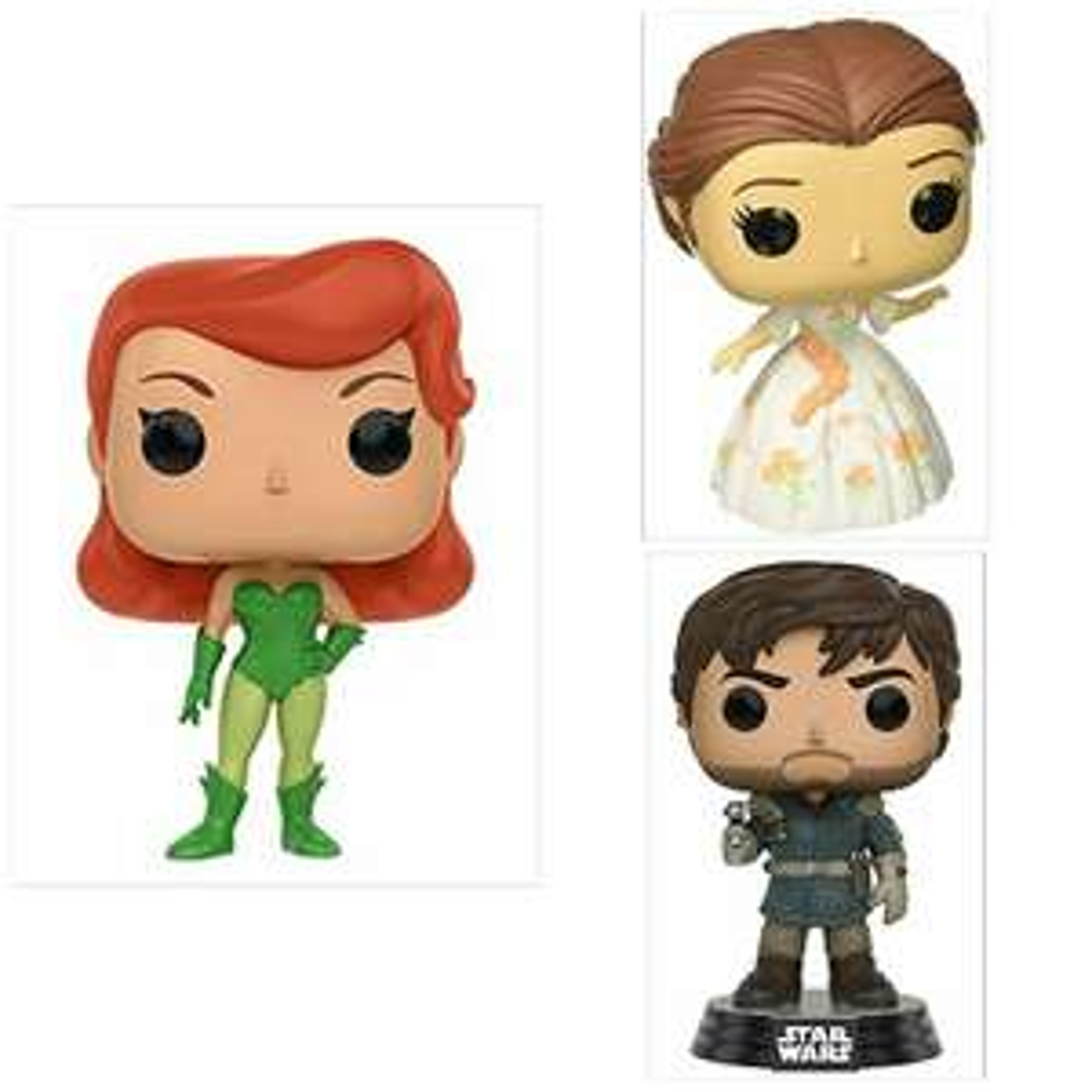 Amazon: Funko Pop Poison Ivy, Bella, Capitán Cassian (Diego Luna, SW Rougue One) Envío Prime. $99 c/u