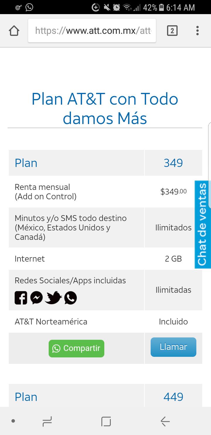 AT&T: Plan at&t con 2gb de datos y lo demás ilimitado, $349 mensual por 12 meses + 12 de regalo