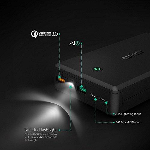 Amazon: Batería Aukey 30,000mah carga rápida 3.0 con cable tipo C de 20 cm (vendido por un tercero)
