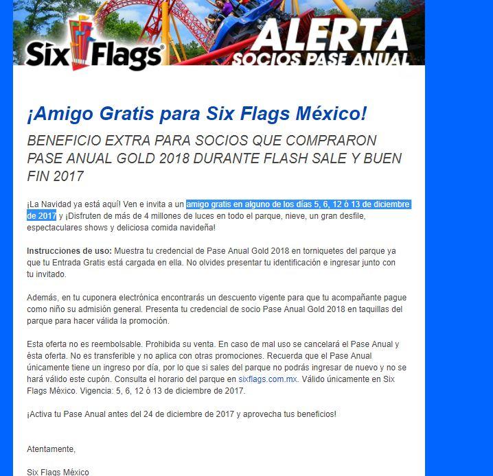 Six Flags: amigo gratis  5, 6, 12 ó 13 de diciembre de 2017 con pase anual gold 2018