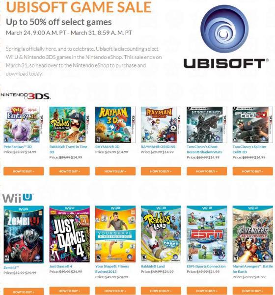 Nintendo: hasta 50% de descuento en juegos de Ubisoft para 3DS y WiiU