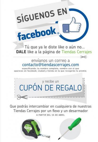 Cerrajes: flexo y desarmador gratis dando like a su Facebook