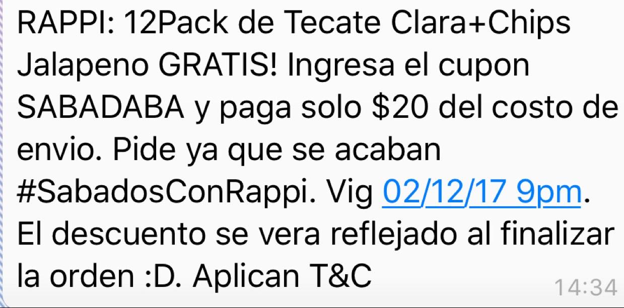 RAPPI 12 Tecate y Chips Jalapeño. Solo paga envío de $20
