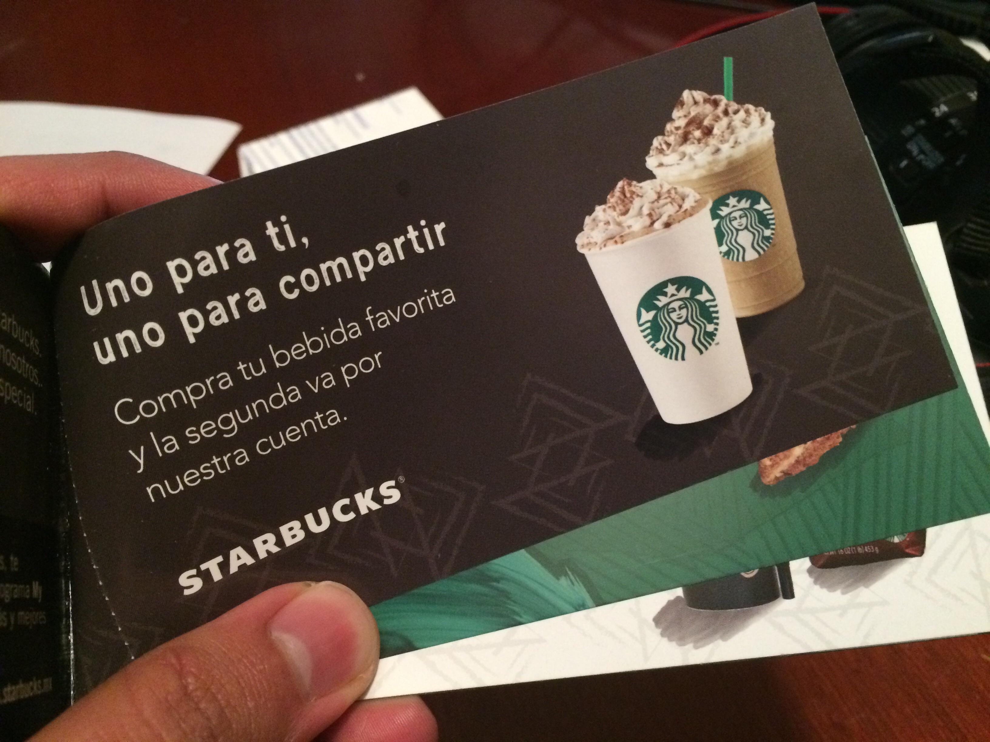 Starbucks: cuponera con 2x1 y otras promociones y precios especiales