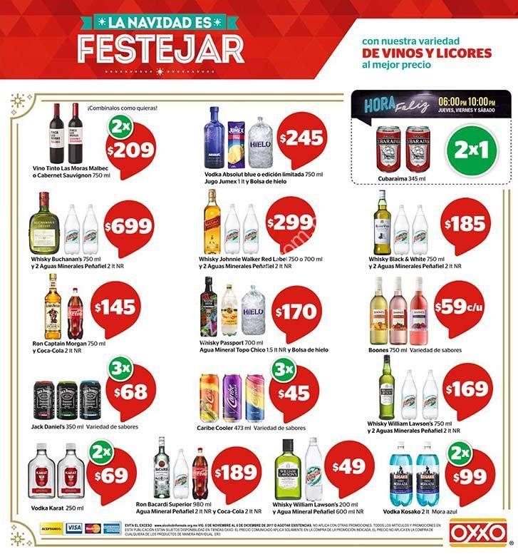 Oxxo promociones de Navidad en vinos y licores