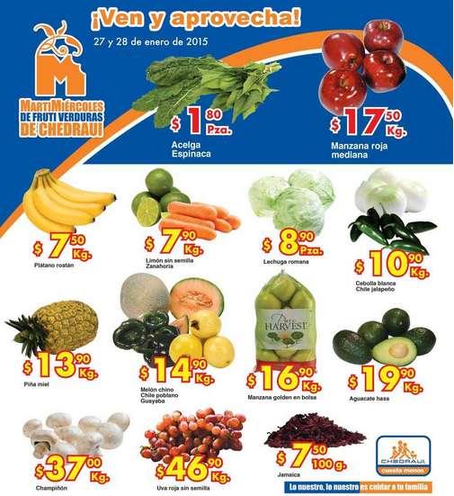 Ofertas de frutas y verduras en Chedraui enero 27 y 28