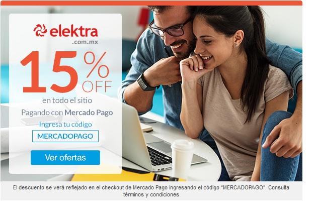 Elektra: Cupón MERCADOPAGO 15% de descuento