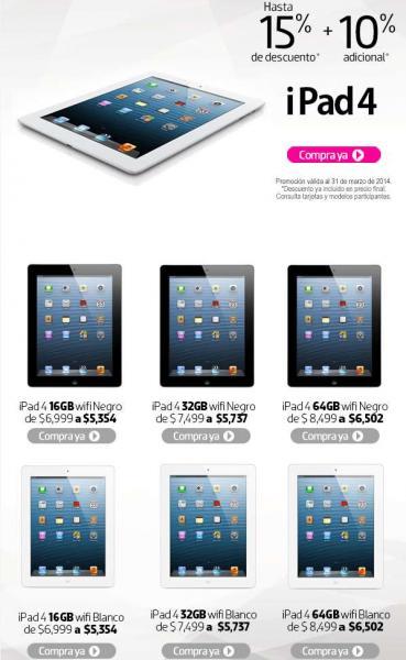 Liverpool: iPad con Pantalla Retina 16GB $5,354, 32GB $5,737 y más