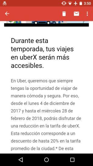Uber: 20% de descuento por temporada en UberX