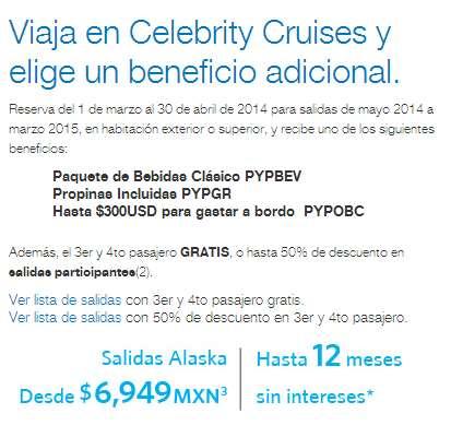 Celebrity Cruises: 3er y 4to pasajero gratis, propinas o bebidas gratis y más