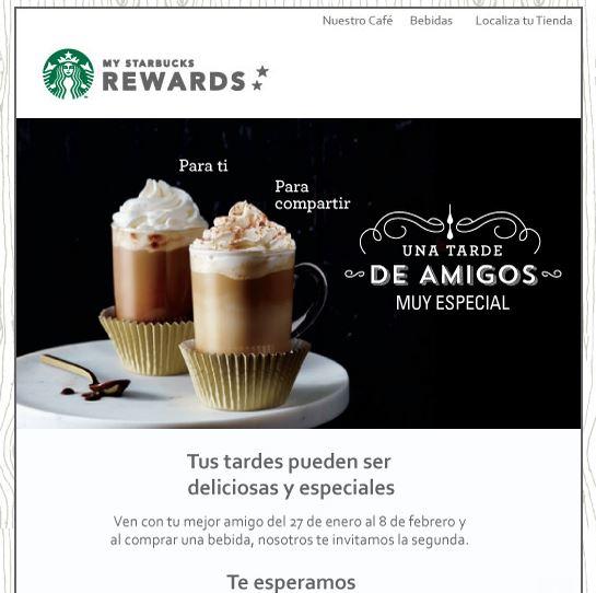 Starbucks Rewards 2x1 en bebidas  (sólo socios)