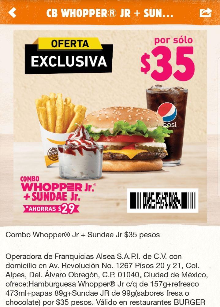 Burger King App: Combo de hamburguesa, papas, refresco y helado por $35
