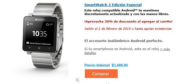 Sony Store Online: smartwatch 2 corrrea de metal y plastico $2499 o $2239