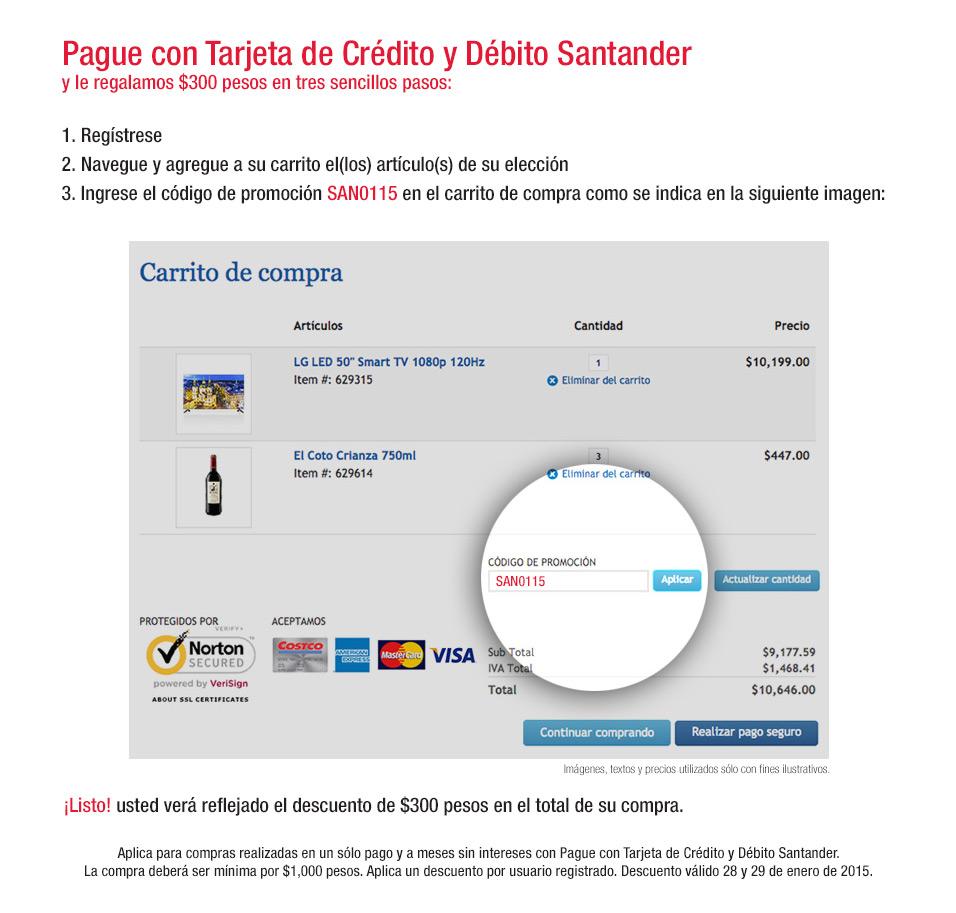 Costco en linea: $300 de descuento en compras de $1,000 pagando Santander
