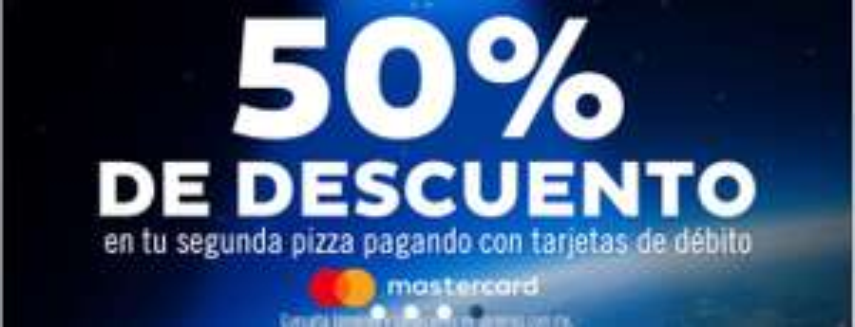 Domino's Pizza 50% de descuento en segunda pizza con MasterCard