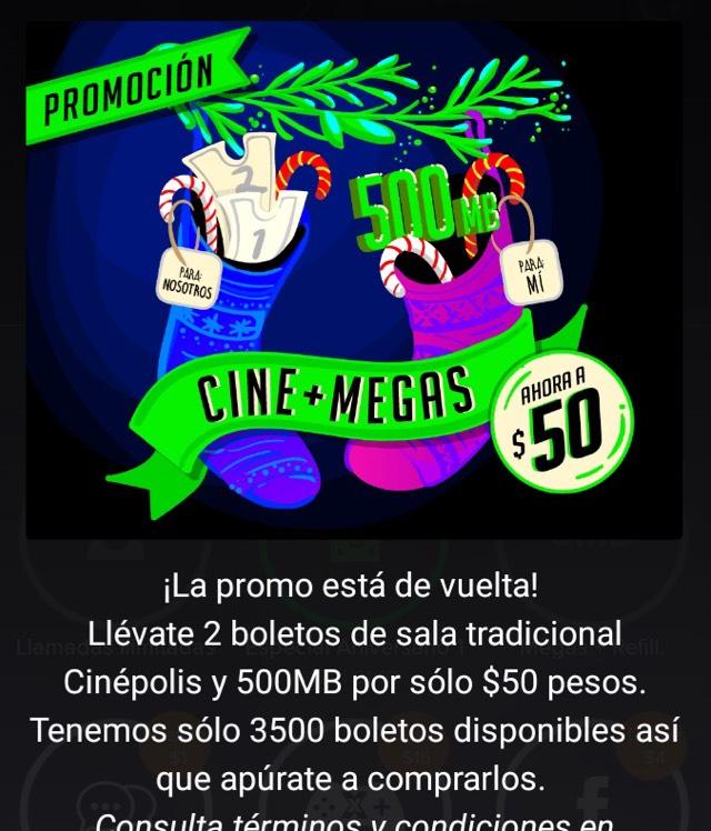 Weex: 500MB + 2 boletos para Cinépolis a $50 (50% de descuento)