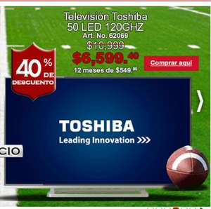 "Office Depot: Pantalla LED Toshiba 50"" 120 GHZ $6,599 y meses sin intereses"