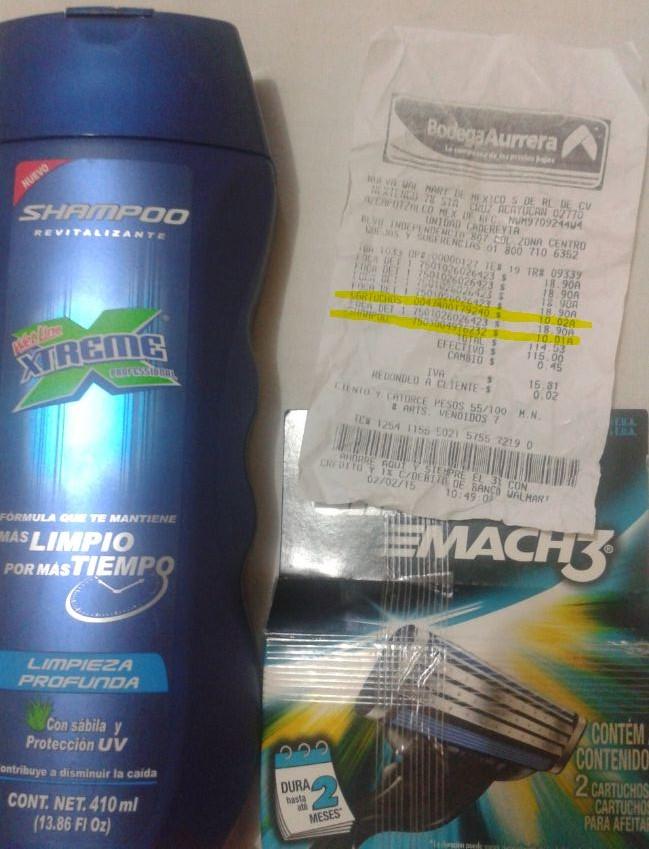 Bodega Aurrera: Cartuchos Gillette o Shampoo Xtreme $10