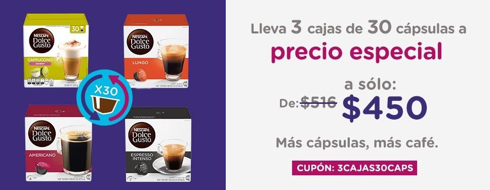 Nescafe Dolce Gusto: 3 cajas de 30 Cápsulas en promocion con cupón