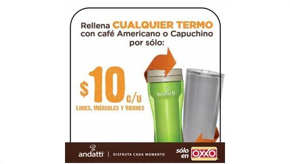 OXXO Cafe Refill con cualquier termo no mayor a 20oz