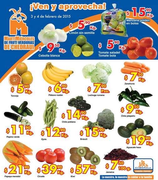 Ofertas de frutas y verduras en Chedraui 3 y 4 de febrero