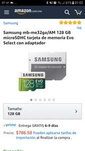 Amazon: Tarjeta microSDHC Samsung Evo U3 128GB MB-ME32GA/AM en $789