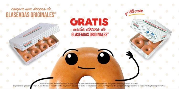 Krispy Kreme: Compra una docena glaseada y GRATIS media docena extra