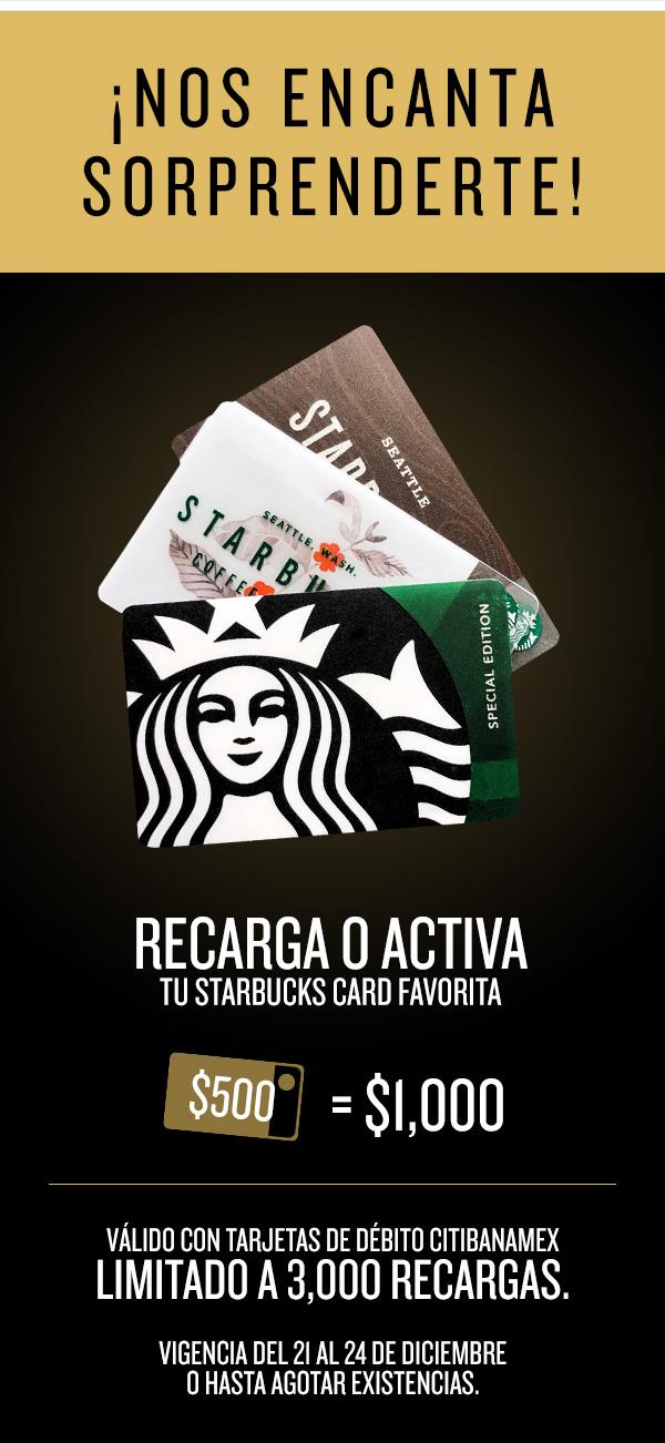 Starbucks: recarga el doble con débito Citibanamex Promoción renovada