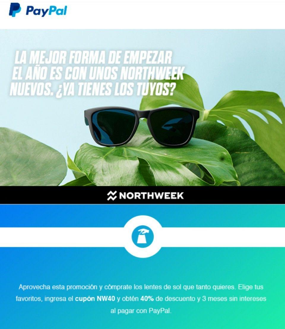 Northweek: 40% de descuento en lentes pagando con Paypal