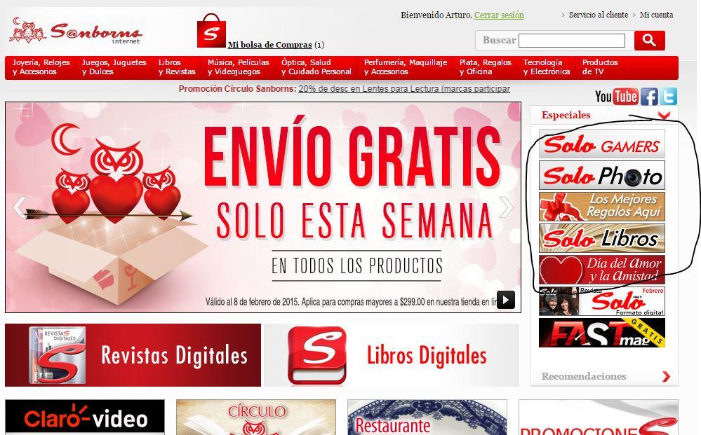 Sanborns; semana de envío gratis en tienda online