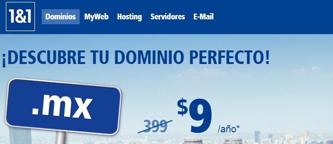 1and1.mx: Dominio nuevo .mx o .com a $9 el primer año