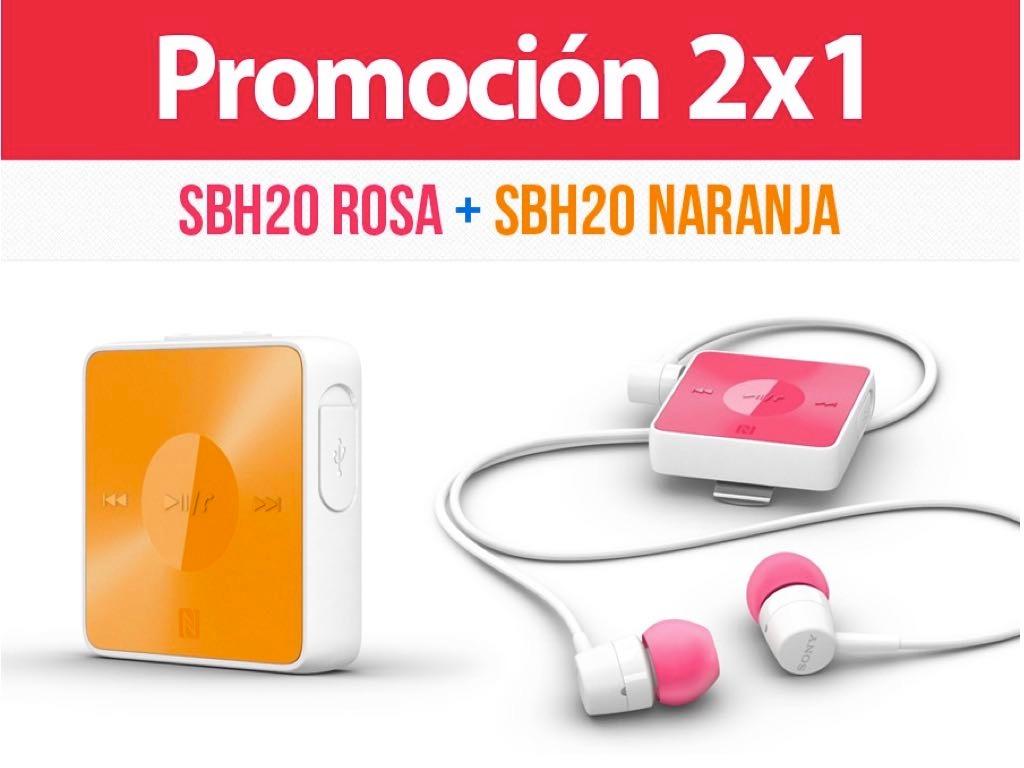 Linio: Dos Audifonos Stereo Sony SBH20 Bluetooth y NFC-Naranja y Rosa