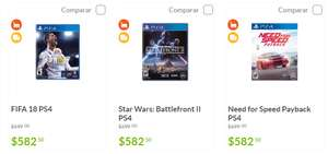 Sam's Club: Fifa 18 (PS4 y Xbox One), Star Wars: Battlefront II (PS4), Need for Speed Payback (PS4) a $582 c/u
