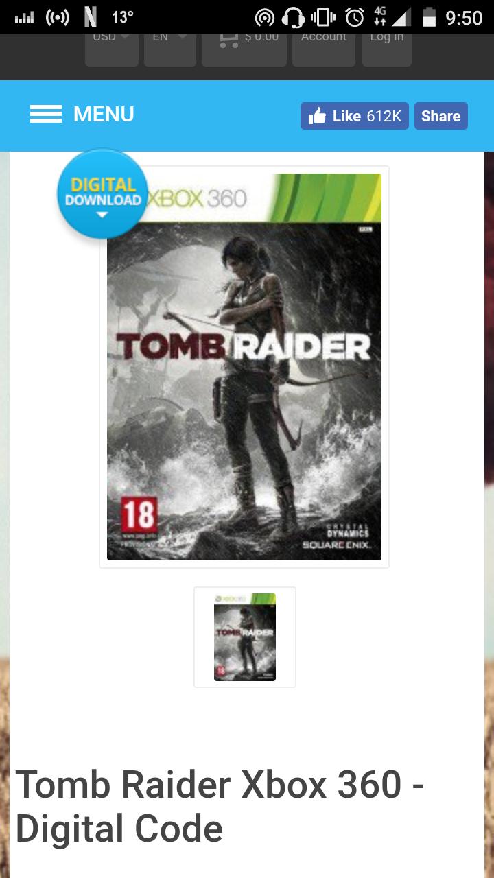CDkeys: Tomb Raider XBOX 360 Descarga Digital