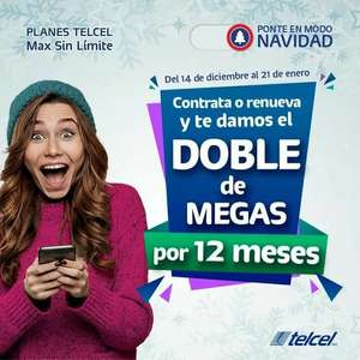 Telcel: Doble de Megas 14 de Diciembre al 21 de enero