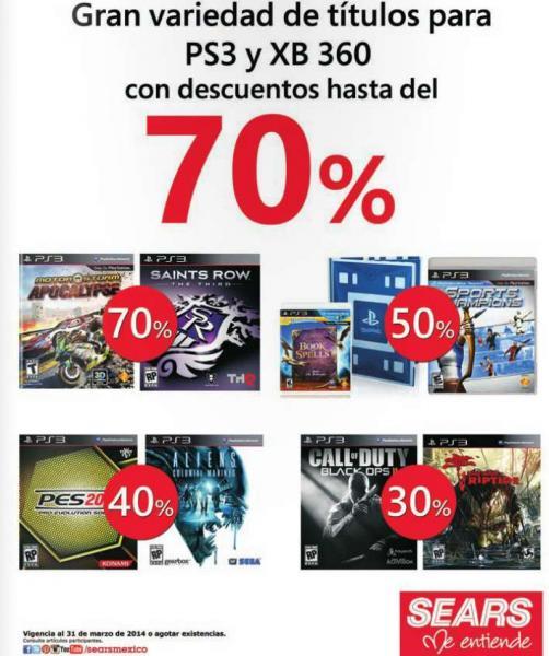 Sears: hasta 70% de descuento en videojuegos seleccionados