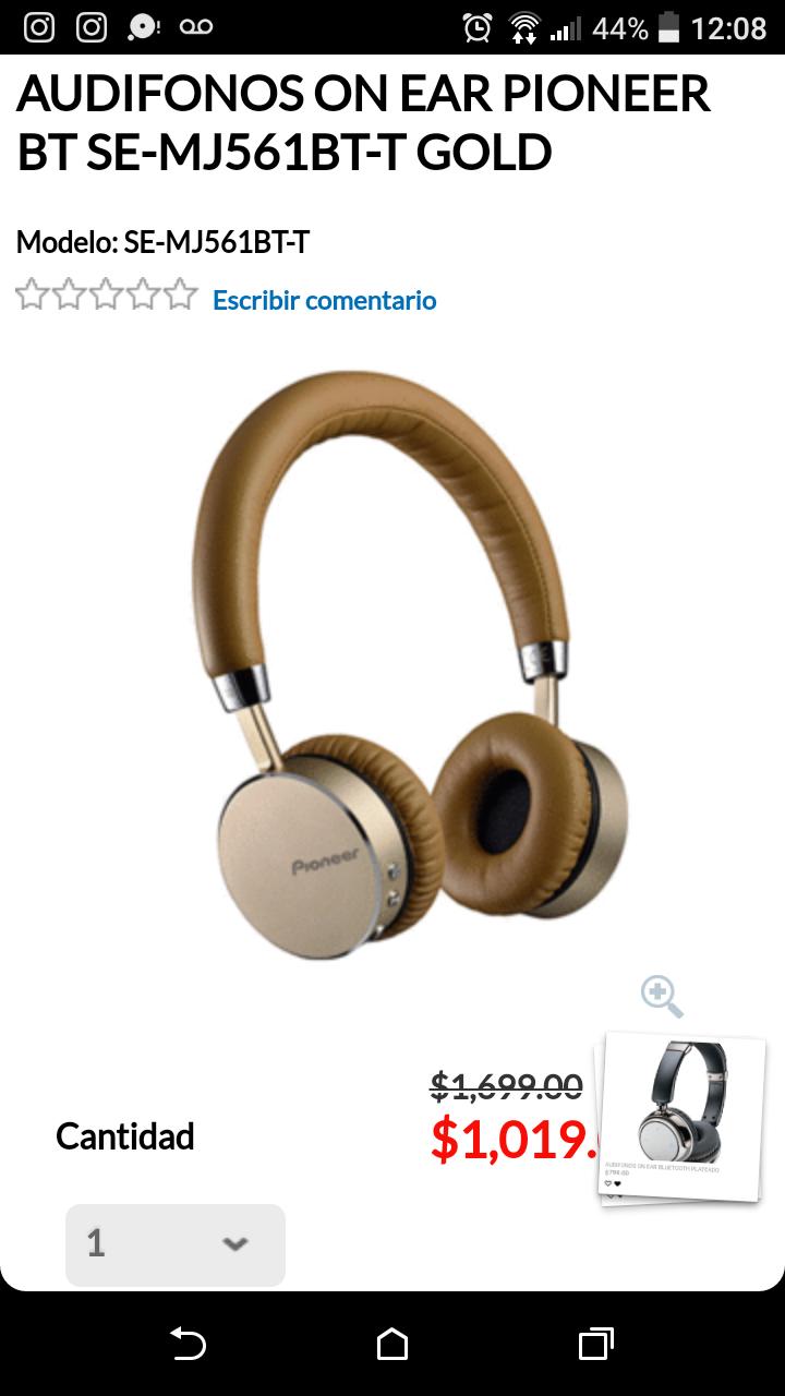 RadioShack: Audífonos pioneer excelente modelo bluetooth SE-MJ561BT-T