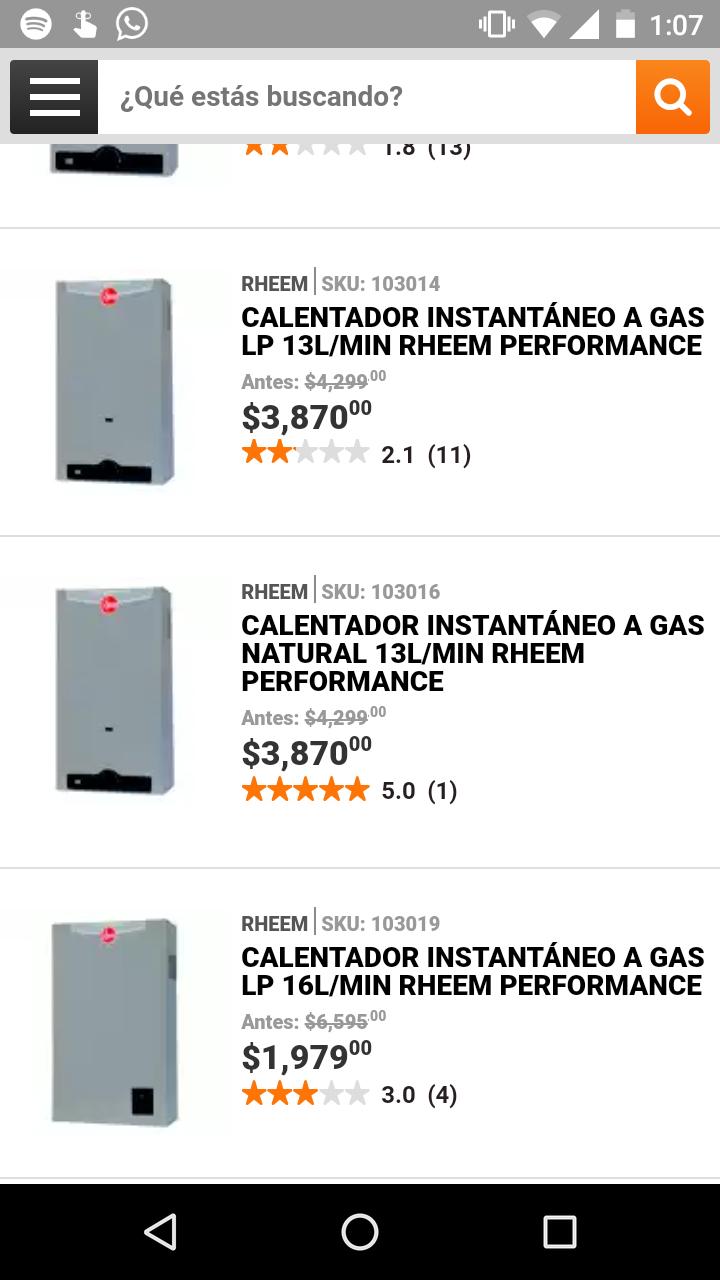 Calentadores de agua Home Depot