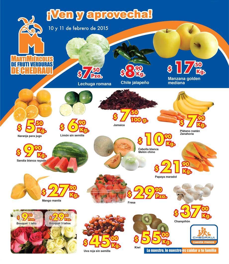 Ofertas de frutas y verduras en Chedraui 10 y 11 de febrero