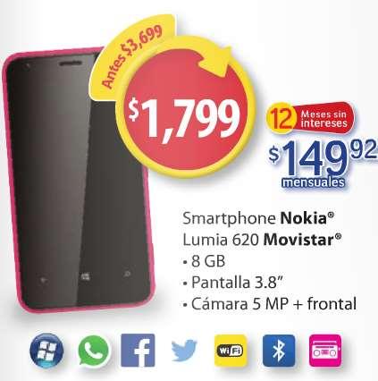 Walmart: Nokia Lumia 620 $1,799 y 12 meses sin intereses