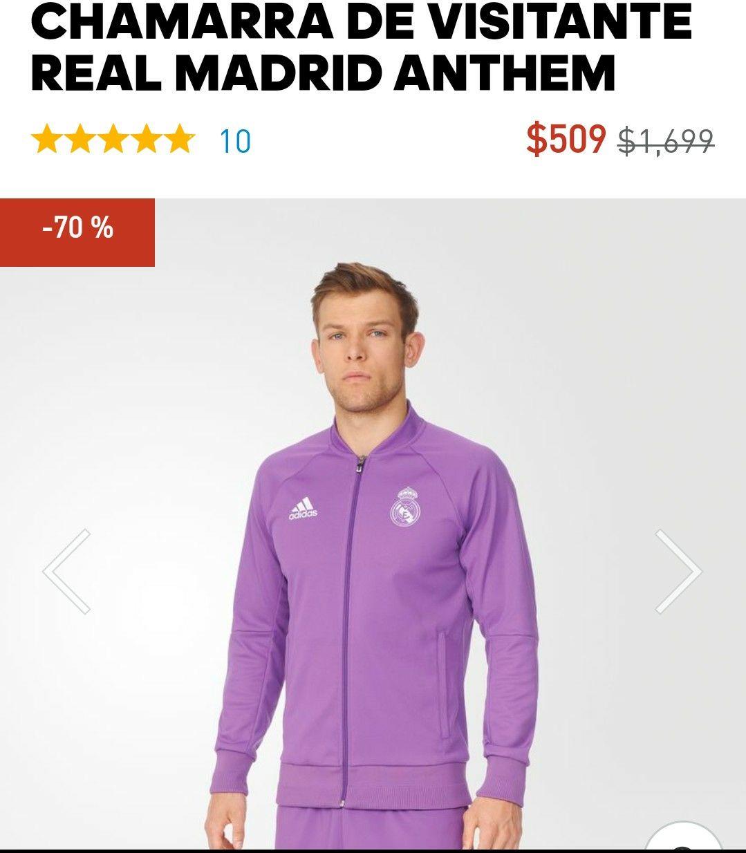 Adidas: Chamarra Real Madrid visitante con 70% de descuento