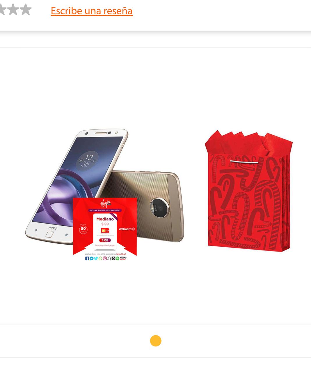 Walmart.com : Moto Z Virgin Mobile + 3 meses de internet 3gb y llamadas ilimitadas (preco con  Banamex a 18 MSI)