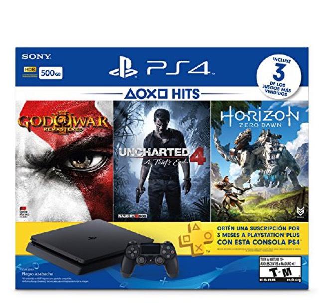 Amazon: PlayStation 4 Slim, 500 GB, color Negro, con Juegos Horizon Zero Dawn, God of War 3 Remastered, Uncharted 4