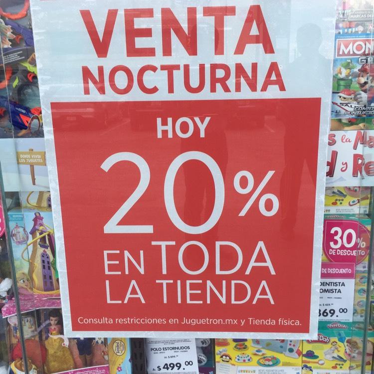 Venta nocturna Juguetron: 20% de descuento en toda la tienda