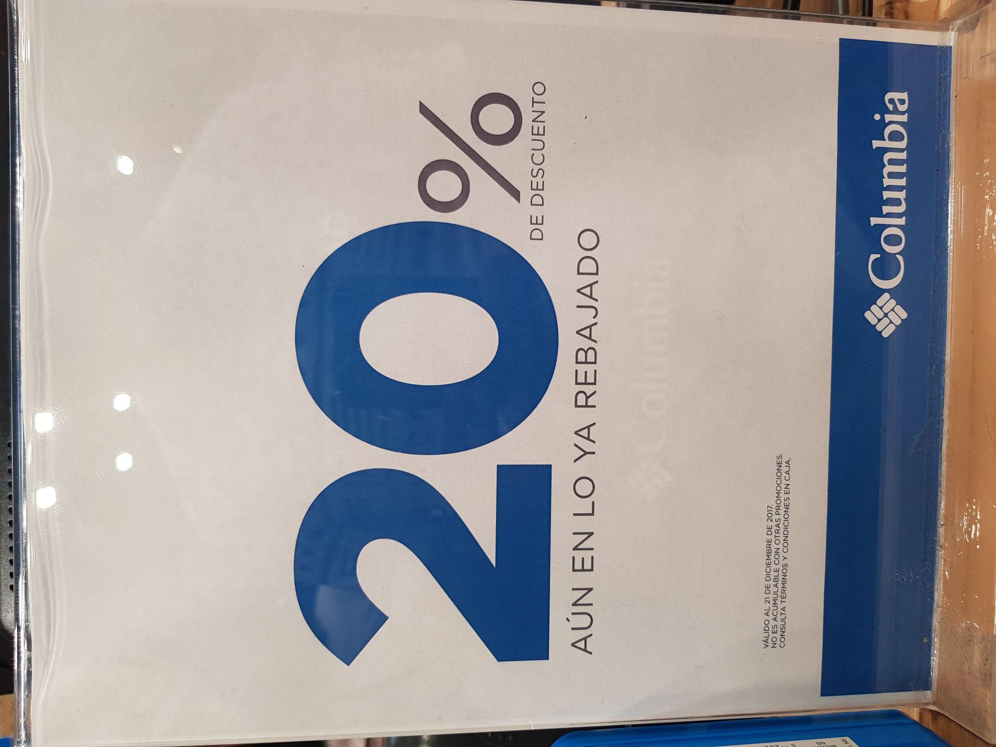 Columbia 20% de descuento to en toda la tienda! También disponible en Marti!