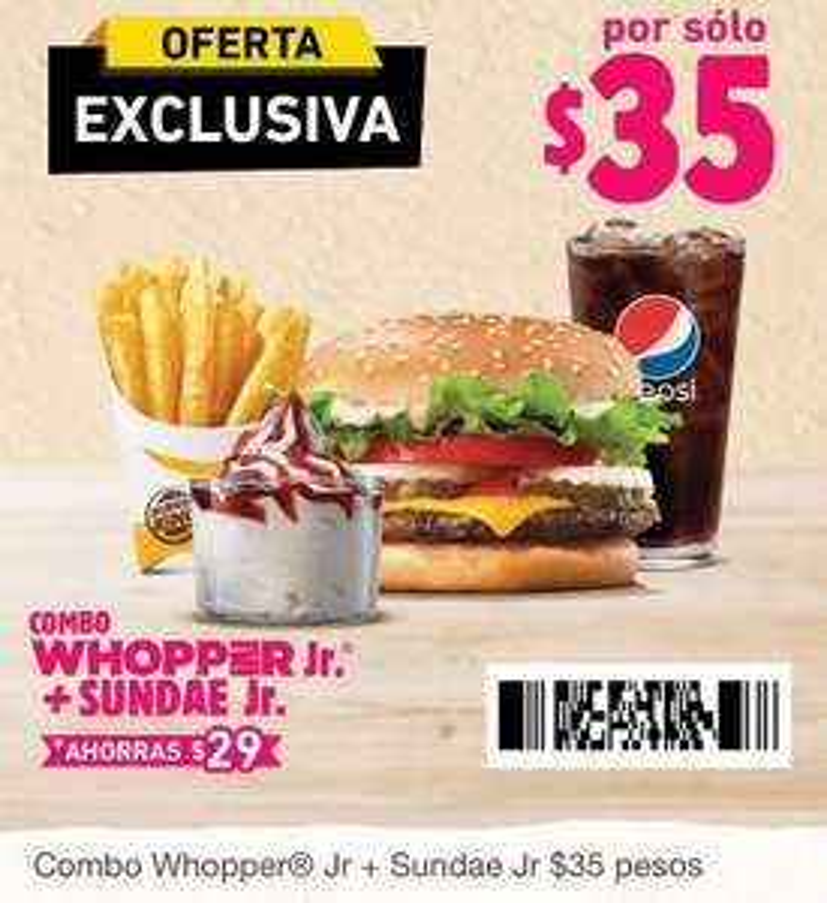 Burger King: Combo Whopper Jr. + Sundae Jr. a $35